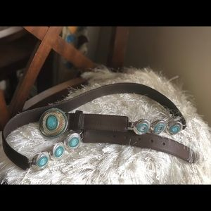 Brighton Teal Stone Beaded Leather Belt  Size XL